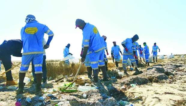 MME staff carrying out the cleanliness drive on a beach.