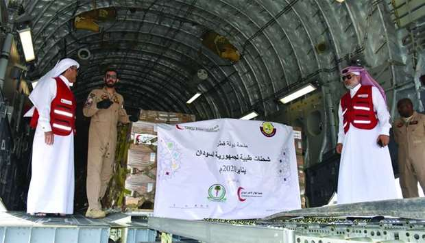 A Qatar Amiri Air Force aircraft arrived in Khartoum on Sunday to deliver the first shipment of medi