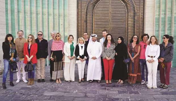 The dignitaries and artists after announcing the 'Spanish art in Doha' exhibition.