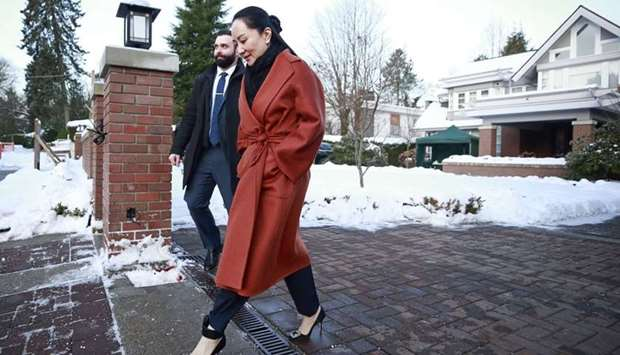 Huawei Technologies Chief Financial Officer Meng Wanzhou leaves her house on her way to a court appe
