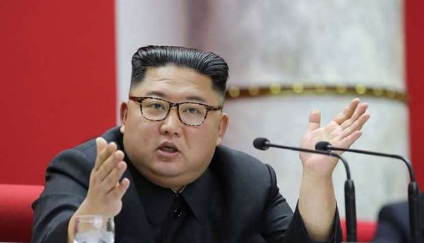 North Korean leader Kim Jong Un attending a session of the 5th Plenary Meeting of the 7th Central Co