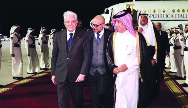 Italian President Sergio Mattarella being received upon arrival at Hamad International Airport by HE