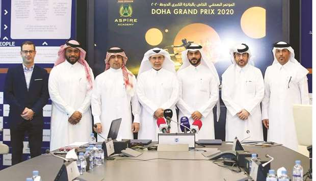 Qatar Fencing Federation and Aspire Academy officials pose on the eve of the Qatar Fencing Grand Pri