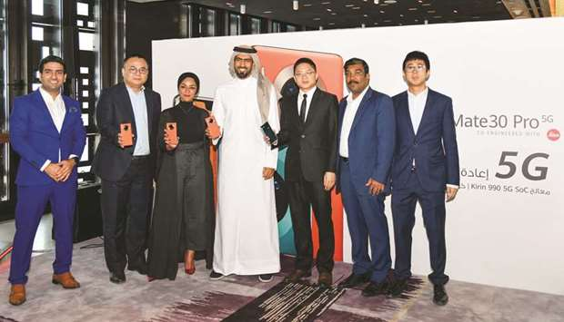 Huawei officials at the launch ceremony in Doha yesterday.