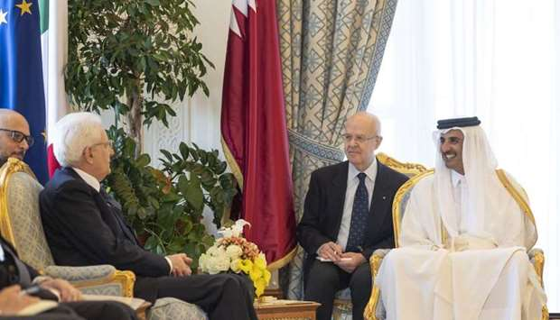 His Highness the Amir Sheikh Tamim bin Hamad Al-Thani and Sergio Mattarella, the president of the It