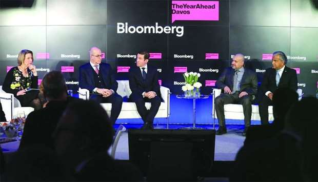Al-Jaida with other panellists at a WEF panel session in Davos.