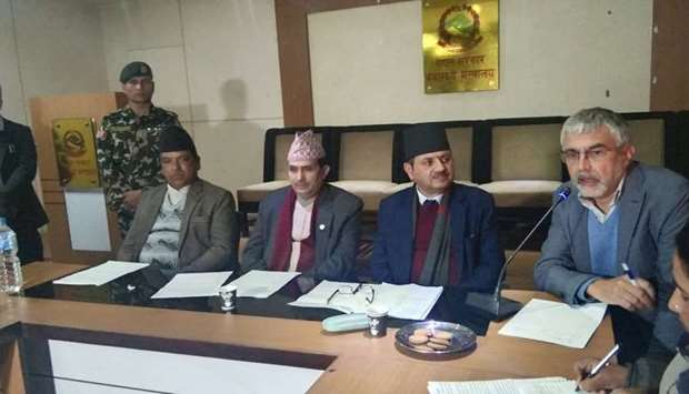 Nepal Ministry for Health and Population holds a press conference. Photo courtesy: Khabarhub