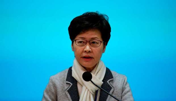 Hong Kong Chief Executive Carrie Lam speaks during a news conference in Hong Kong