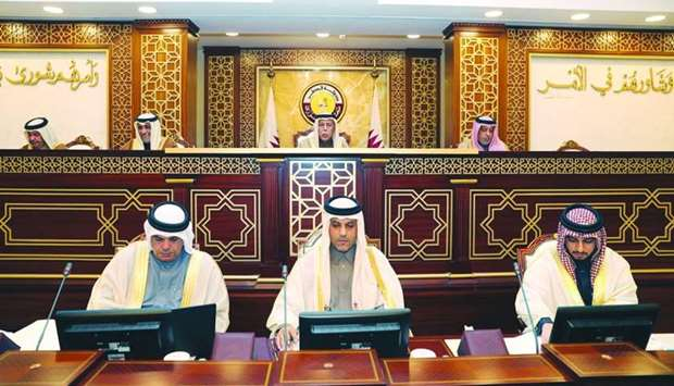 HE the Speaker Ahmed bin Abdullah bin Zaid al-Mahmoud chairing Monday's session of the Advisory Coun