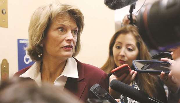 Senator Lisa Murkowski (R-AK) speaks to reporters at the US Capitol in Washington, DC.