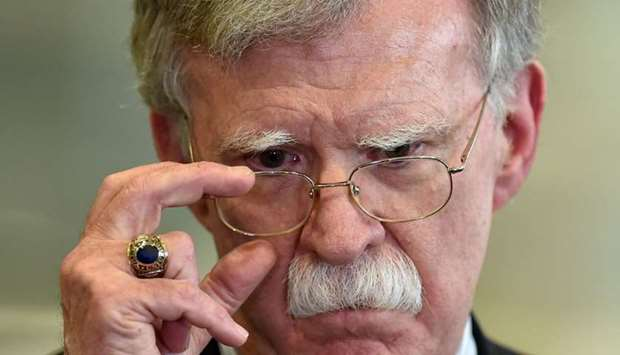 In this file photo taken on August 29, 2019 US National Security Advisor John Bolton answers journal