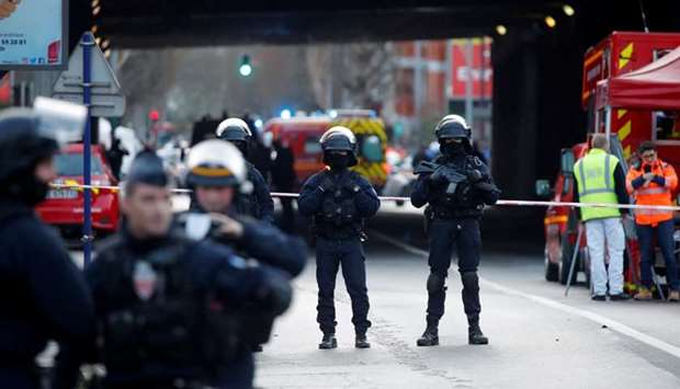French police secure an area in Villejuif near Paris, France, January 3, 2020 after police shot dead