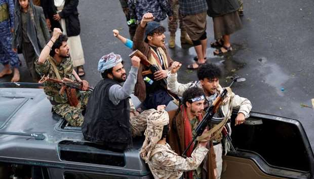Yemeni Huthi rebels take part in a demonstration in Sanaa Monday to denounce the killing of Iranian