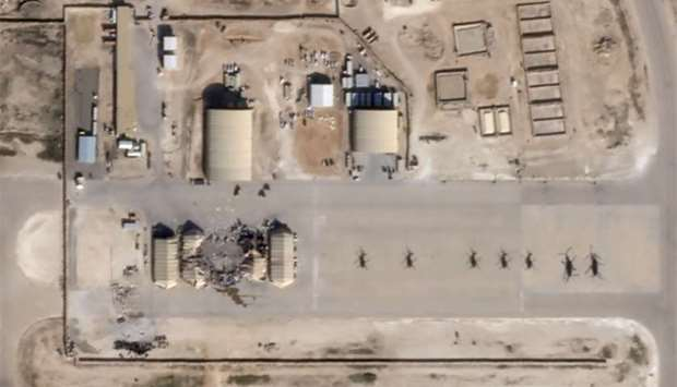 What appears to be new damage at Al Asad air base in Iraq is seen in a satellite picture taken Wedne