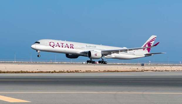 Qatar Airways plane lands at the King Khalid International Airport, in Riyadh, Saudi Arabia