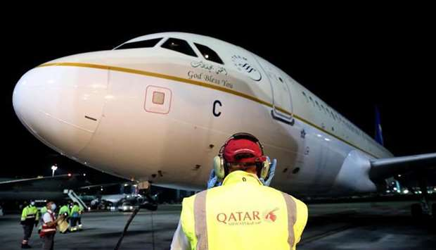 Following the resumption of flights between Riyadh and Doha, the first Saudi Airlines flight arrived