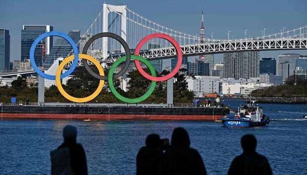Olympic rings at the waterfront in Tokyo