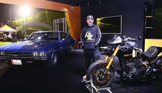 Abdulaziz H Alhawal al-Marri is all set with his classic Chevrolet SS 1969 and Arch KRGT-1 motorbike
