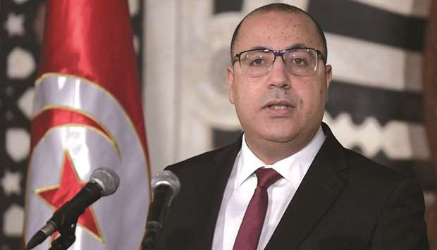 Tunisian Prime Minister Hichem Mechichi speaks during a press conference to announce a cabinet reshu