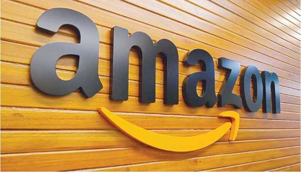 The logo of Amazon is pictured inside the company's office in Bengaluru (file). India is considering