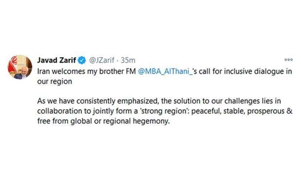 Iran FM tweet welcoming Qatar FM's call for inclusive dialogue