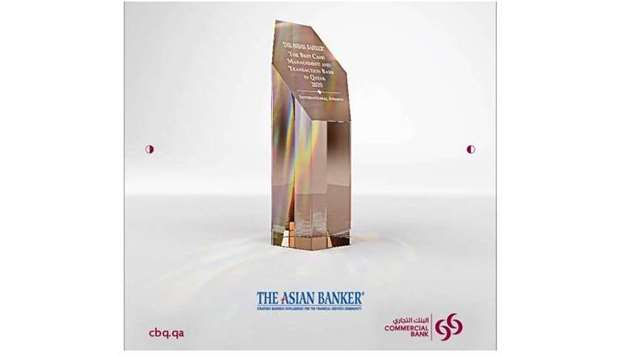 Commercial Bank, Qatar's first private bank, has bagged new award for 2020 from The Asian Banker for