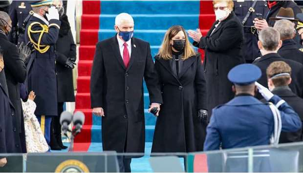Vice President Mike Pence and Karen Pence arrives at the inauguration of US President-elect Joe Bide