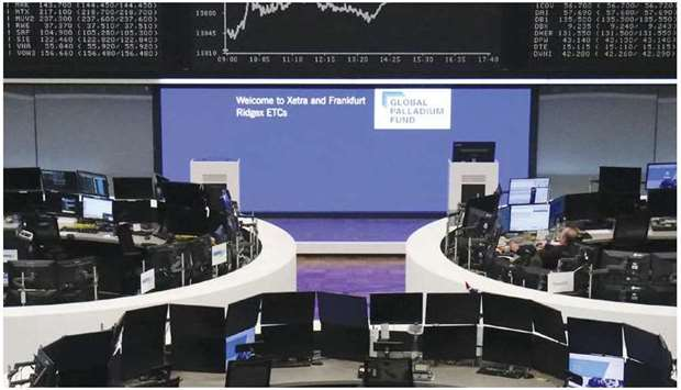 The German share price index DAX graph is pictured at the Frankfurt Stock Exchange. Global markets r