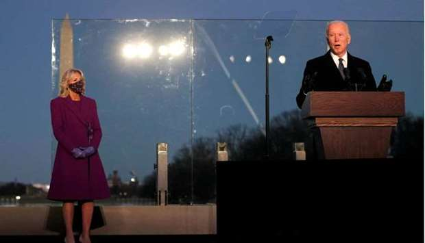 US President-elect Joe Biden delivers remarks at a coronavirus disease memorial event at the Lincoln