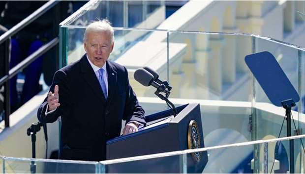 US President Joe Biden delivers his inaugural address on the West Front of the US Capitol on Wednesd