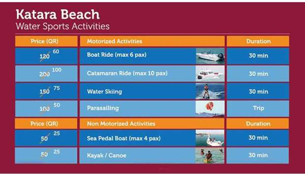 Katara offers reduced prices for water sports activities