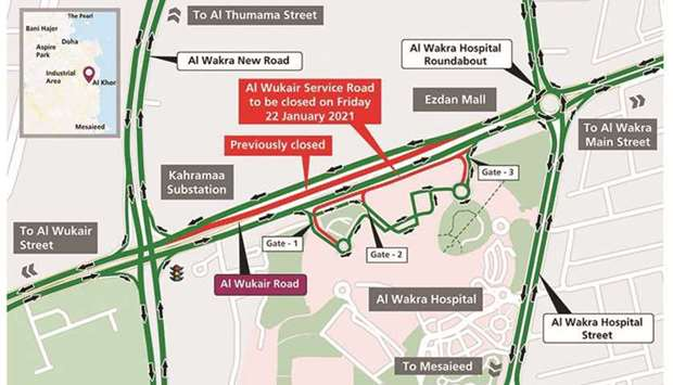 Partial closure on Al Wukair Road's service road