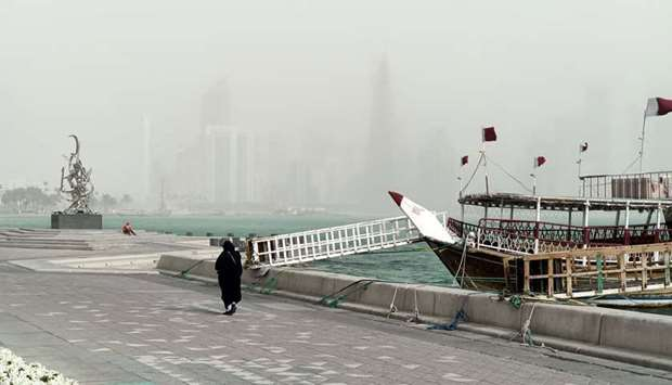 Snapshot of Thursday's sandstorm and windy conditions in Doha. PICTURE: Jayaram