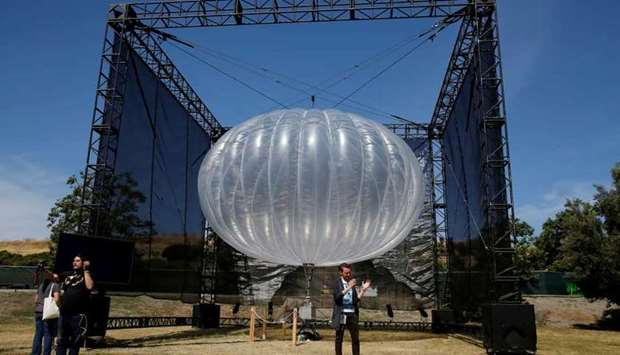 A Google Project Loon internet balloon is seen at the Google I/O 2016 developers conference in Mount