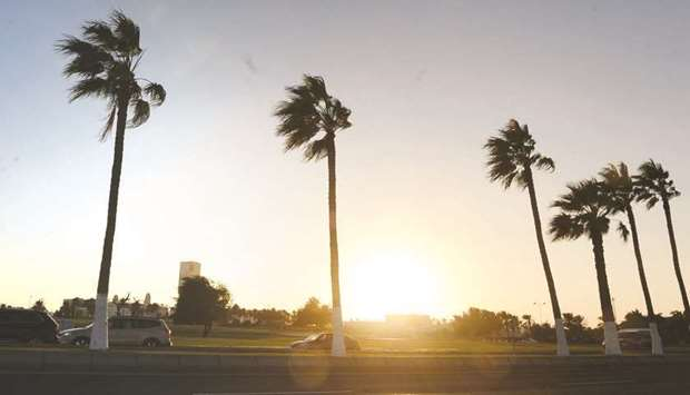 A dusty and windy scene a little before sunset from Doha Corniche on Friday. PICTURES: Shaji Kayamku