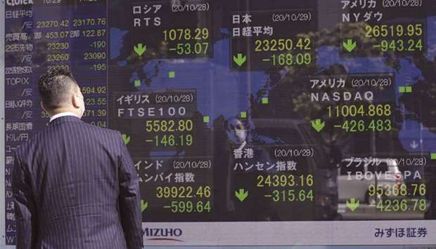 A pedestrian looks at an electronic stock board displaying the Nikkei 225 Stock Average outside a se