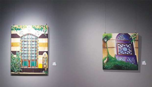 Two of al-Bizri's works on display at Katara – the Cultural Village. PICTURE: Joey Aguilar