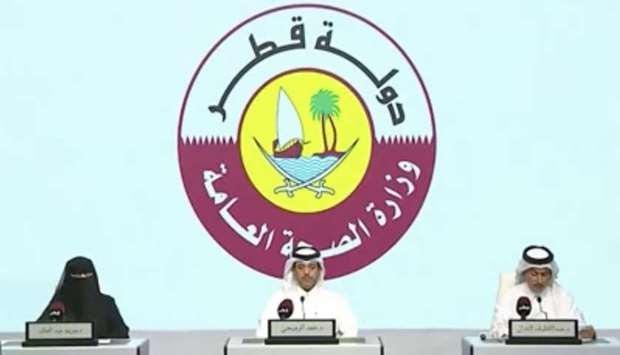 The officials during the news conference on Qatar TV