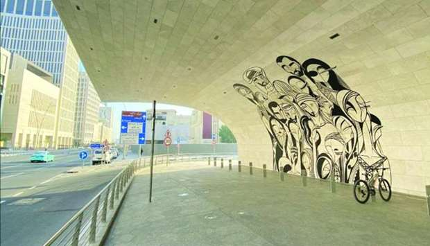 """Doha-based artist Abdulaziz Yousef Ahmed's """"Family Reunion"""" at the Msheireb metro station."""