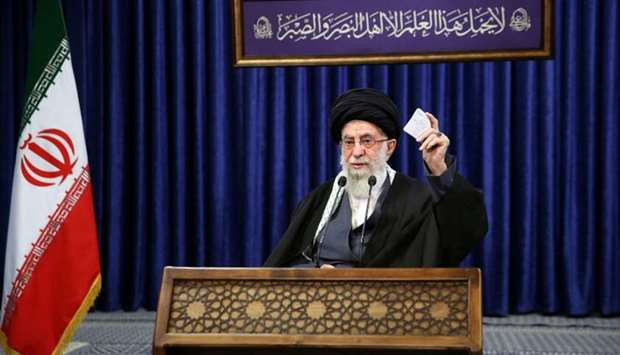 Iran's Supreme Leader Ayatollah Ali Khamenei delivers a televised speech, in Tehran, Iran