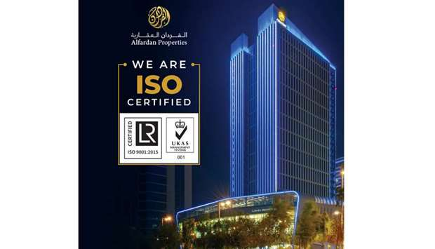 Alfardan Properties has announced the renewal of ISO 9001:2015 certification of its Quality Manageme