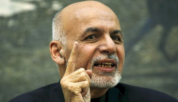 Afghanistan's President Ashraf Ghani speaks during a news conference in Kabul, yesterday.