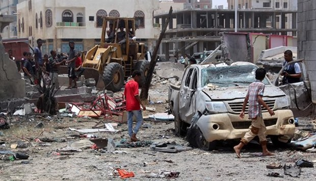 A car-bombing site at an army recruitment centre in the southern Yemeni city of Aden
