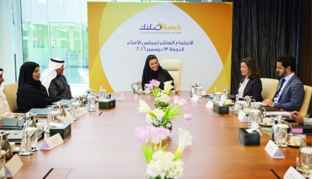 HH Sheikha Moza bint Nasser yesterday attended the annual board meeting of Silatech in Doha. It was