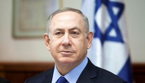 Israeli Prime Minister Benjamin Netanyahu attends the weekly cabinet meeting at his Jerusalem office