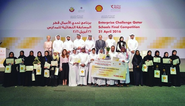 The top three teams in the schools final of the '2016 Enterprise Challenge Qatar' competition