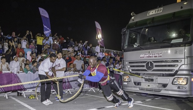 Kenyan champion Cristopher Oketch in the Truck Pulling challenge
