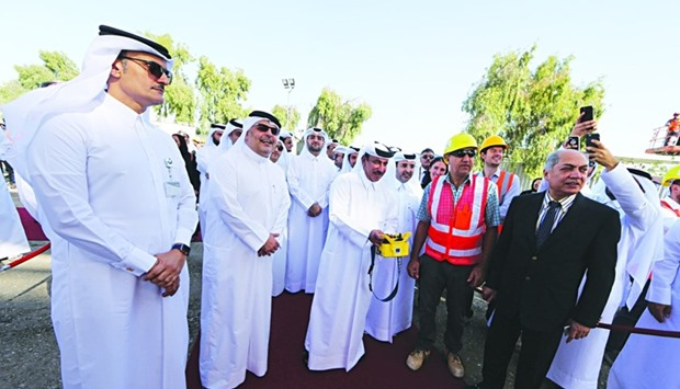 HE Transport and communications minister Al-Sulaiti on a site inspection at Red Line Elevated.