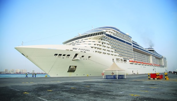 Mega cruise ship MSC Fantasia docks at Doha Port.