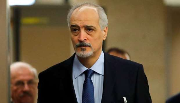 Syria's UN ambassador and chief negotiator Bashar al-Ja'afari arrives for a meeting with United Nati